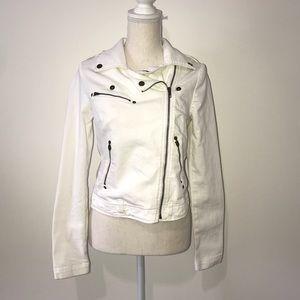 Current/Elliott White Zip Up Denim Jacket Size 2